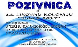 Pozivnica Likovna kolonija Sunce 2017